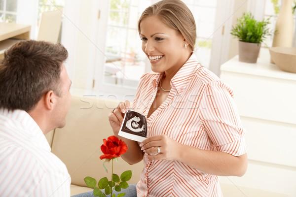 Stok fotoğraf: Hamile · kadın · gülen · adam · mutlu · ultrason