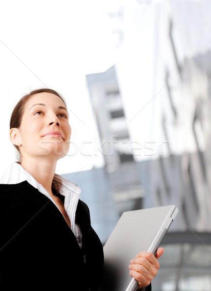 Vastbesloten zakenvrouw jonge ambitieus toekomst Stockfoto © nyul