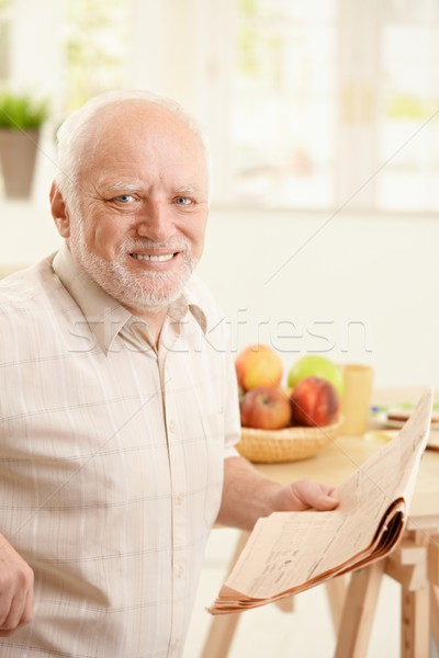 Foto stock: Retrato · altos · hombre · desayuno · feliz · sesión