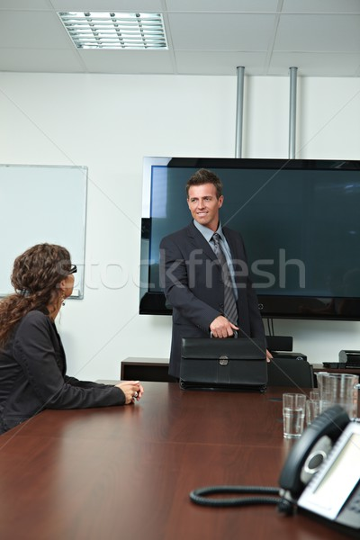 Businessman arriving to meeting room Stock photo © nyul