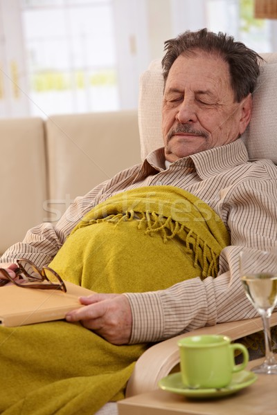 Senior man sleeping in armchair Stock photo © nyul