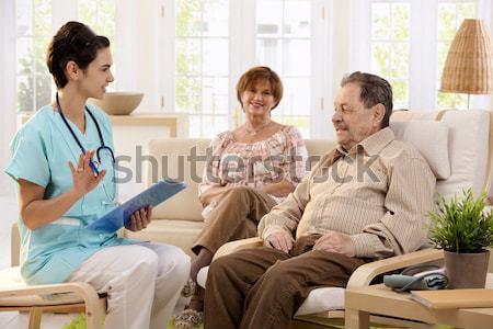 Photo stock: Infirmière · supérieurs · homme · maison