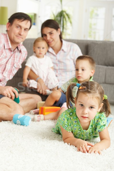 Little girl together with family at home Stock photo © nyul