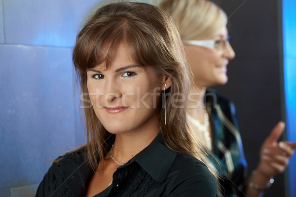 Stockfoto: Jonge · zakenvrouw · portret · glimlachend · gezicht