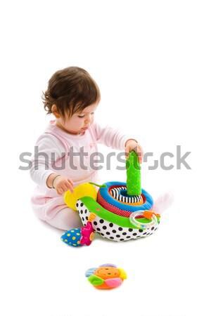 Szczęśliwy baby odizolowany posiedzenia piętrze Zdjęcia stock © nyul