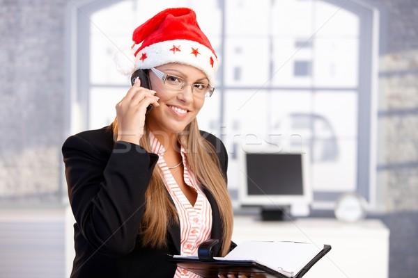 Dość kobiet Święty mikołaj hat uśmiechnięty Zdjęcia stock © nyul