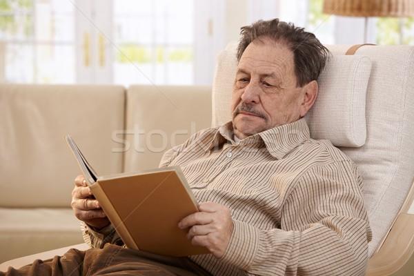 ストックフォト: シニア · 男 · 読む · 図書 · 椅子