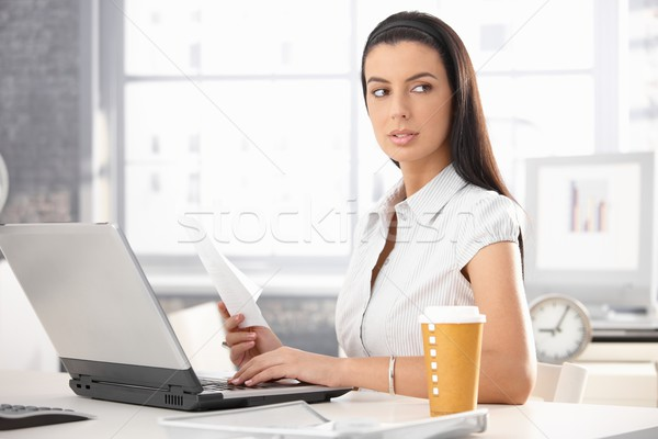 Busy office girl with document Stock photo © nyul