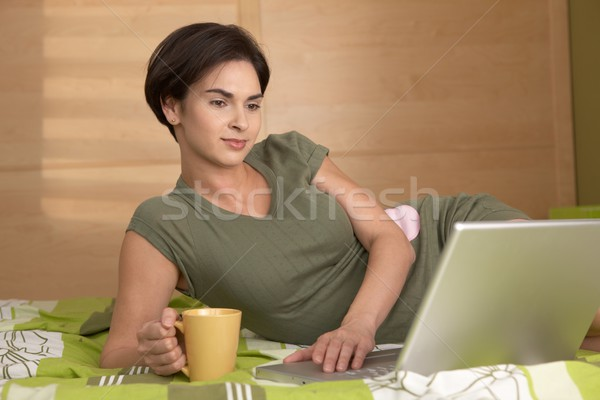 Portrait of smiling woman in morning Stock photo © nyul