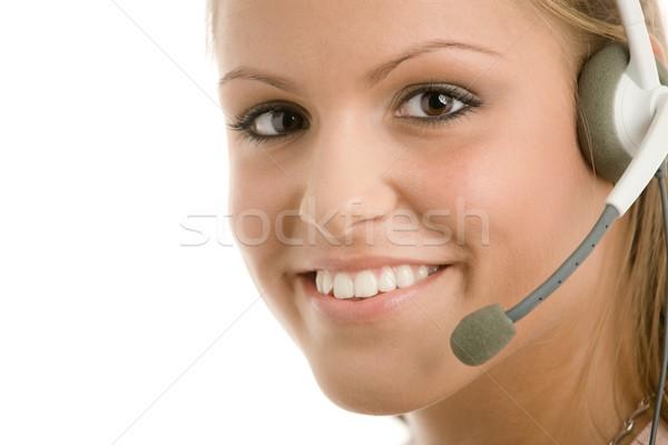 Klantenservice gelukkig jonge meisje hoofdtelefoon glimlachend Stockfoto © nyul