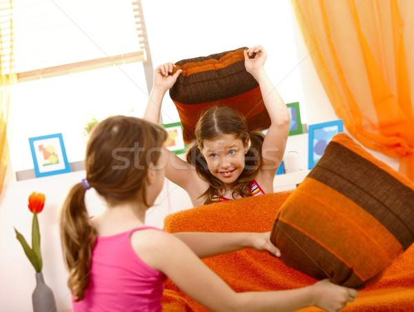 Kızlar yastık kavgası mutlu öğrenciler oturma odası kız Stok fotoğraf © nyul
