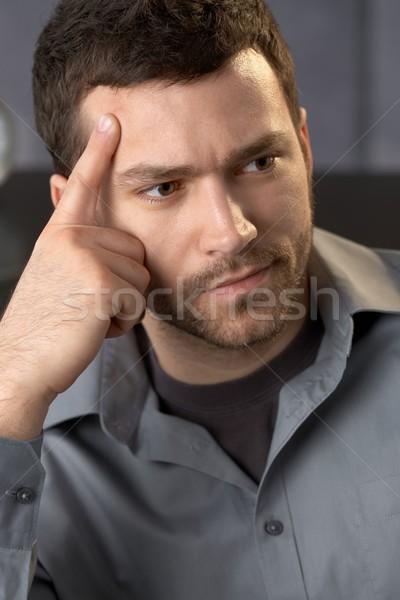 Problémás üzletember közelkép portré gondolkodik néz Stock fotó © nyul