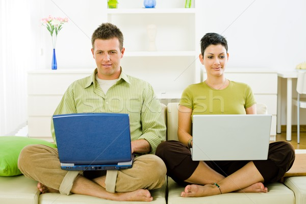 Couple working on laptop Stock photo © nyul