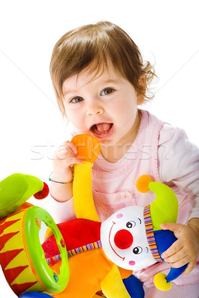 Stock photo: Happy baby playing