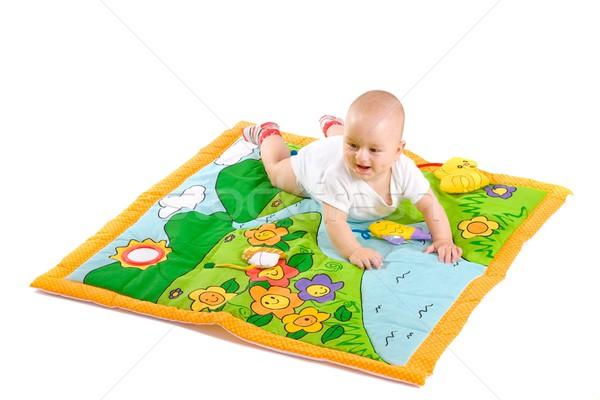 Baby spelen geïsoleerd gelukkig witte Stockfoto © nyul