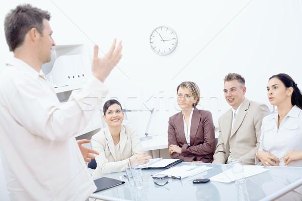 Сток-фото: деловое · совещание · бизнесмен · Постоянный · четыре · коллеги