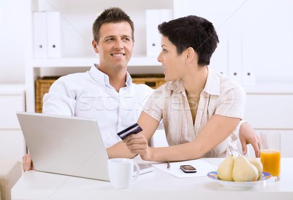 пару торговых онлайн счастливым домой Сток-фото © nyul