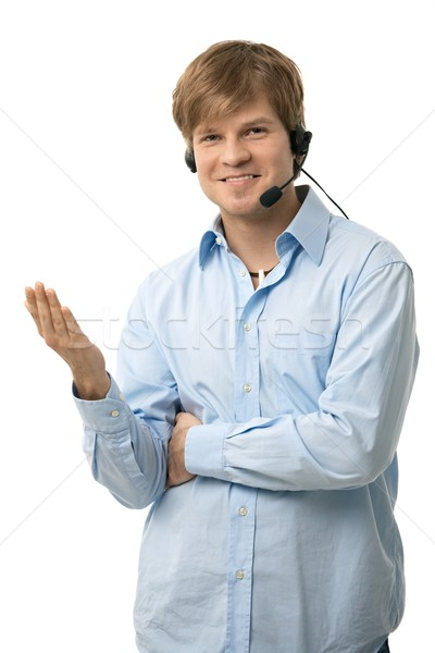 Casual man talking on headset Stock photo © nyul