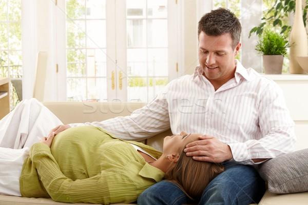 Stock fotó: Pár · kanapé · nő · baba · mosolyog · férfi