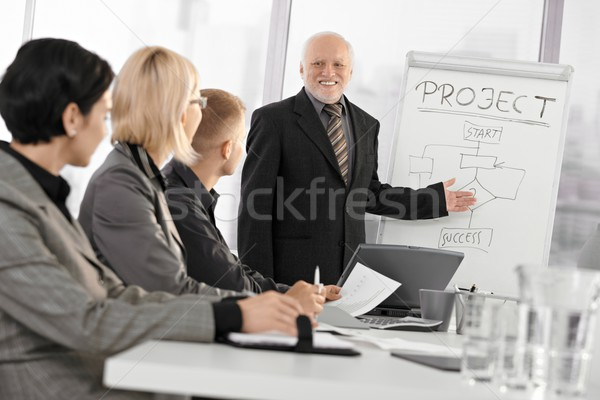 Senior businessman training colleagues Stock photo © nyul