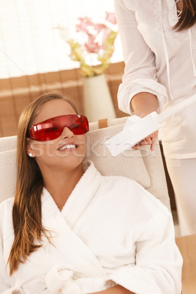 Woman smiling after laser tooth whitening Stock photo © nyul