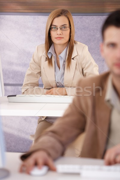 Attractive woman at training course Stock photo © nyul