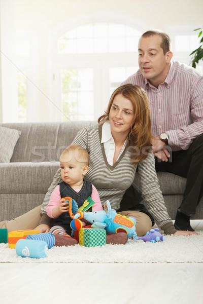 Photo stock: Papa · maman · bébé · famille · amusement · fille