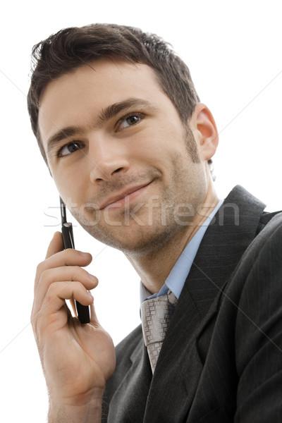 Empresario teléfono móvil primer plano retrato casual hablar Foto stock © nyul