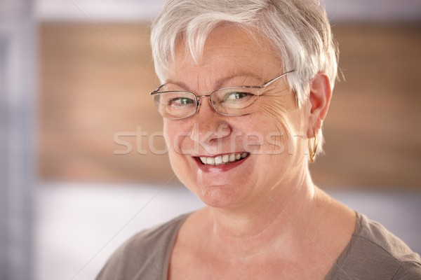 Stock photo: Portrait of elderly woman with white hair