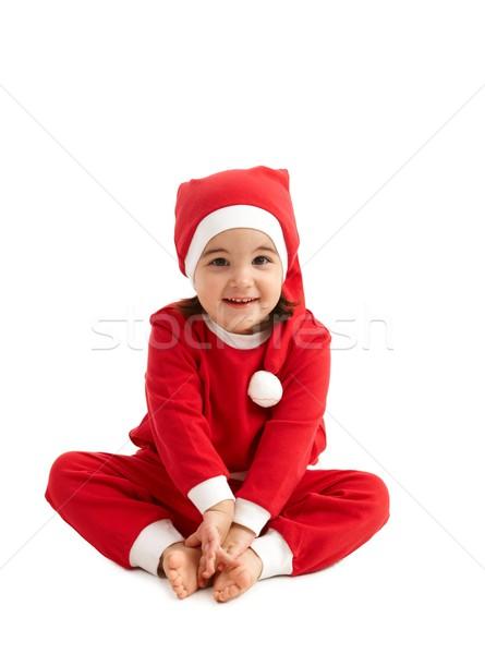 Sweet fille vêtements chapeau séance Photo stock © nyul