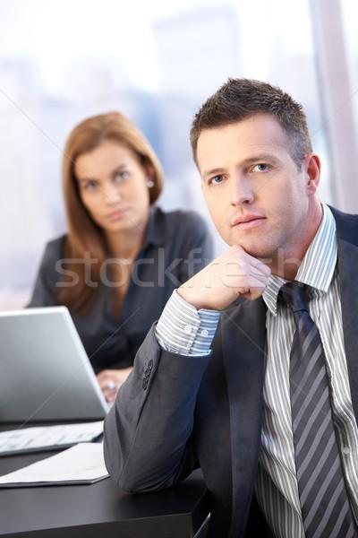 Portré középkorú üzletember tárgyaló számítógép iroda Stock fotó © nyul