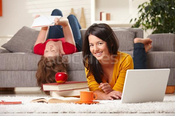 Sonriendo estudiantes aprendizaje casa feliz estudiar Foto stock © nyul