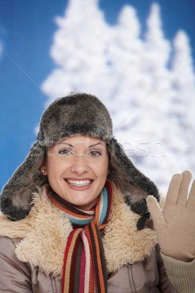 ストックフォト: 幸せ · 女性 · 冬 · 若い女性 · 雪 · 着用