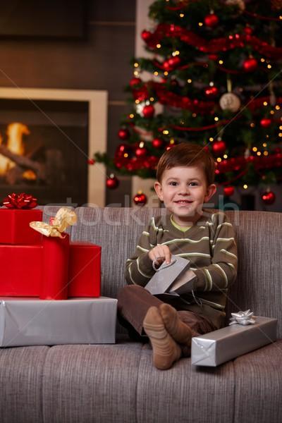 Сток-фото: открытие · Рождества · представляет · портрет · счастливым
