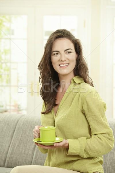 Mutlu kadın içme kahve genç kadın oturma Stok fotoğraf © nyul