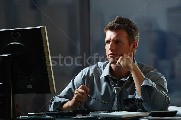 ストックフォト: ビジネスマン · 作業 · 遅い · オフィス · 疲れ · コンピュータ