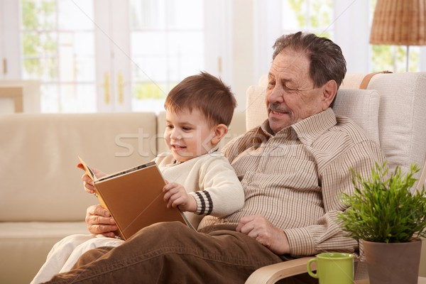 Photo stock: Grand-père · lecture · petit-fils · séance · fauteuil · enfants