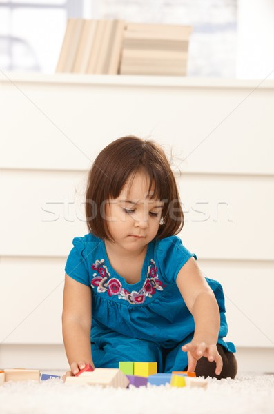 Small girl with building block Stock photo © nyul