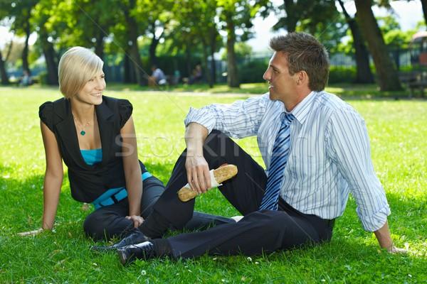 Stockfoto: Business · lunch · outdoor · park · jonge