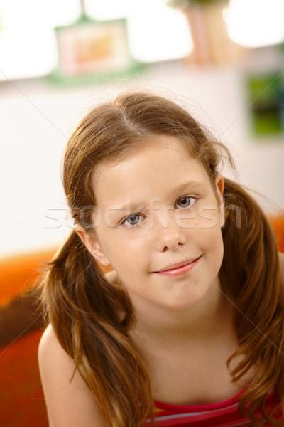 Boldog iskolás lány közelkép portré mosolyog kamera Stock fotó © nyul