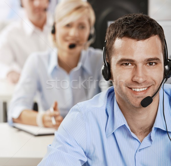 Stock photo: Operator talking on headset