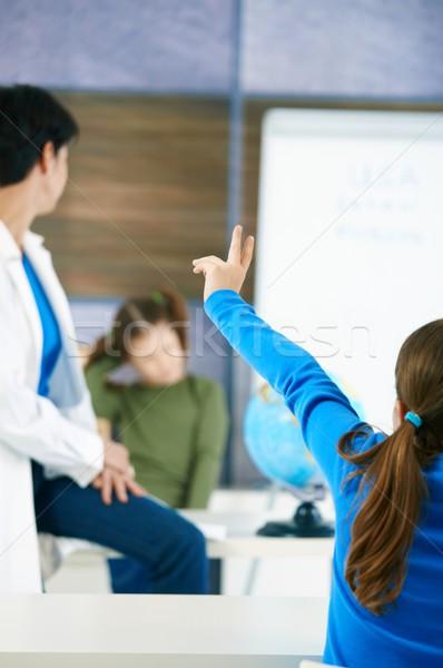 Stock fotó: Iskolás · lány · kéz · alapfokú · kor · fókusz · tanár