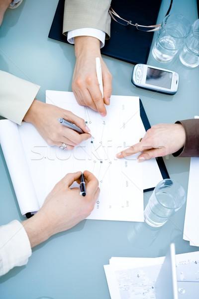Stockfoto: Handen · zakelijke · bijeenkomst · vergadering · kantoor