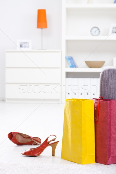 Stock photo: Shopping bags and shoe