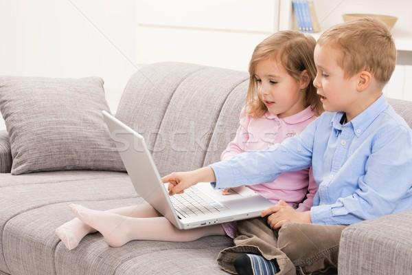 Siblings using laptop computer Stock photo © nyul