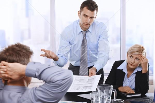 Problémás üzletemberek megbeszélés megbeszél jelentés üzletember Stock fotó © nyul