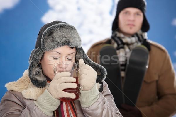 Gelukkig paar winter sneeuw Stockfoto © nyul