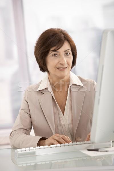 Stockfoto: Senior · professionele · vrouw · vergadering · bureau · portret