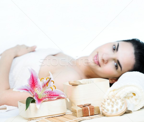Foto stock: Bienestar · imagen · terapia · atención · selectiva · flor · cara