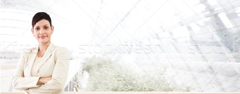 Business banner - young businesswoman Stock photo © nyul